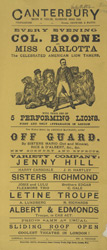 Poster for evening entertainment at the Canterbury Theatre of Varieties